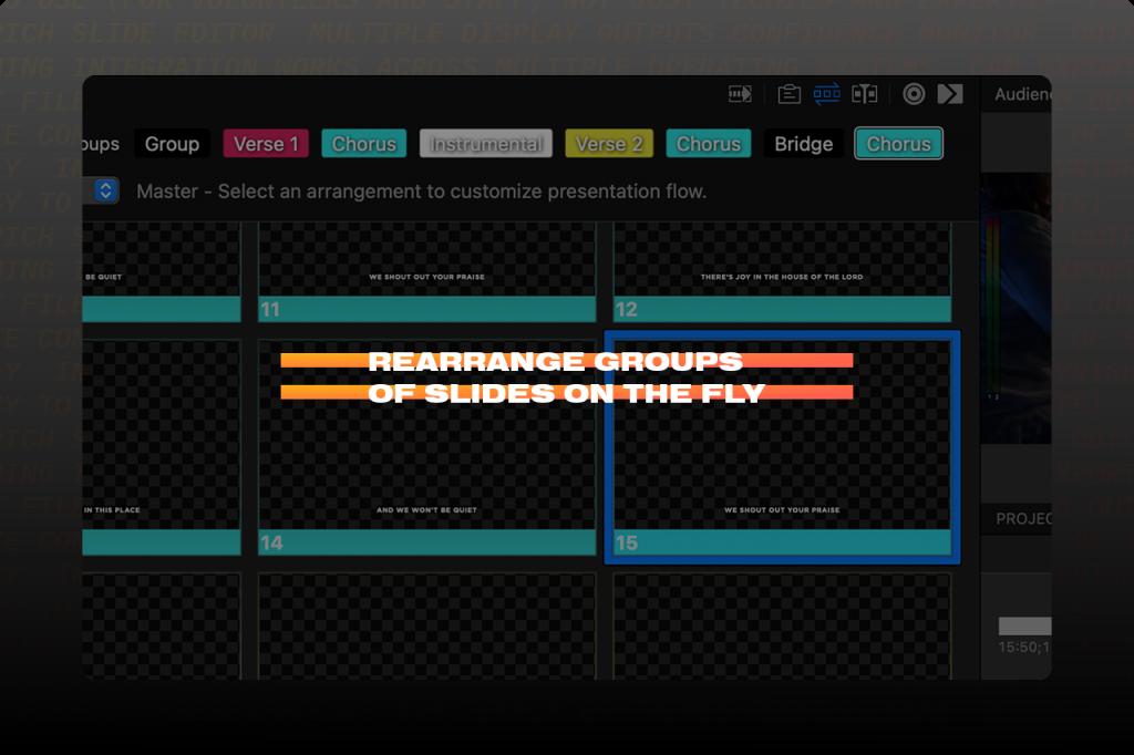 Screenshot of rearranging groups of slides in ProPresenter
