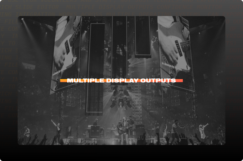 Screen shot of Multiple Display Outputs in ProPresenter presentation software