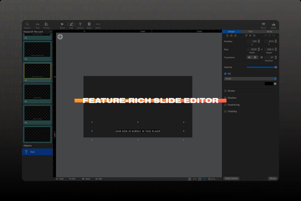 Screen shot of Slide Editor in ProPresenter presentation software