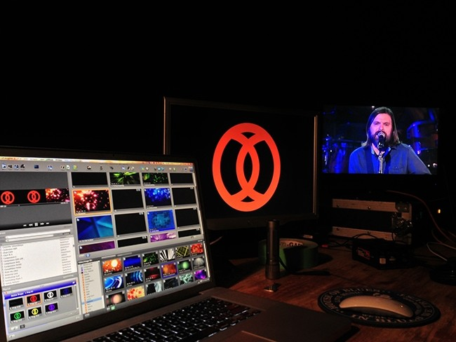PVP media server and ProPresenter lyric software at live concert