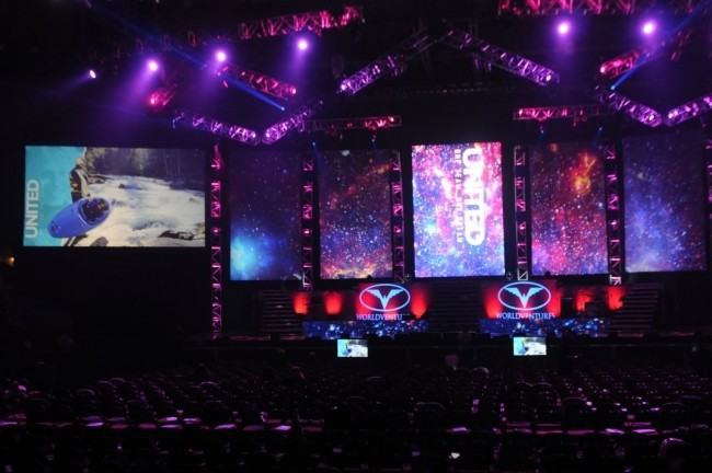 PVP media server and screen mapping software installation at World Venture Event