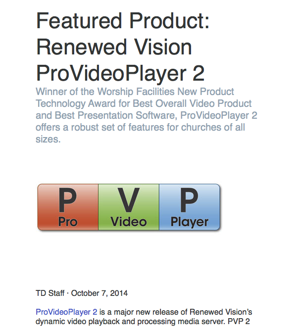 Featured Product: Renewed Vision ProVideoPlayer 2